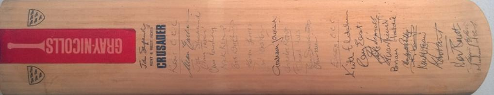 John-Shepherd-autograph-signed-Kent-cricket-memorabilia-KCCC-West-Indies-Essex-Sussex-Hampshire-Underwood-Cowdrey-Ealham-Tavare-Downton-gray-nicolls-bat