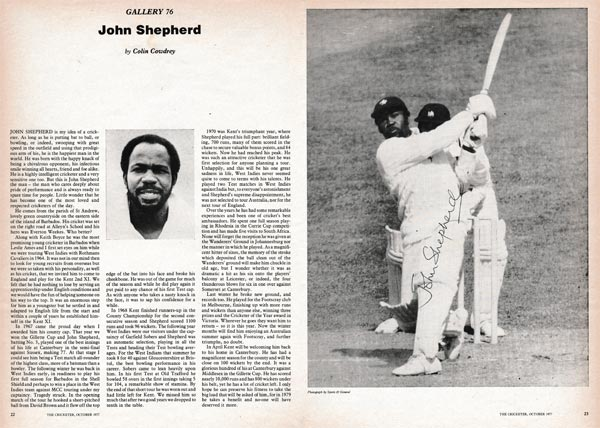 John-Shepherd-autograph-signed-kent-cricket-memorabila-west-indies-1977-cricketer-magazine-shep-kccc