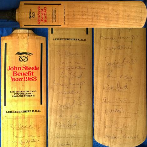 John-Steele-memorabilia-Leics-CCC-cricket-memorabilia-signed-1983-Benefit-cricket-bat-David-Gower-Andy-Roberts-Agnew-Briars-Foxes-Leicestershire-memorabilia