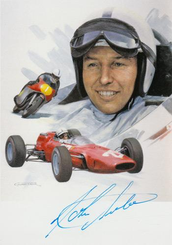John Surtees autograph signed motor racing f1 cycle memorabilia Racing Steps Foundation grand prix bike formula one world champion ferrari lola lotus cooper