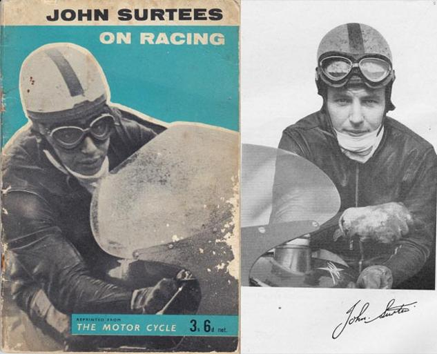 John-Surtees-memorabilia-on-racing-book-the-motor-cycle-magazine-reprint--1960-first-edition-formula-one-bike-booklet-autograph-signature