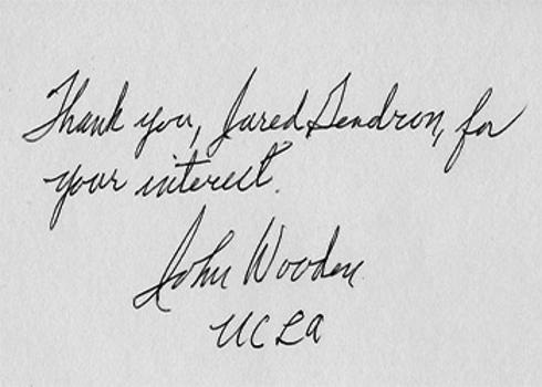 JOHN WOODEN  (UCLA basketball coaching legend) signed thank you card.