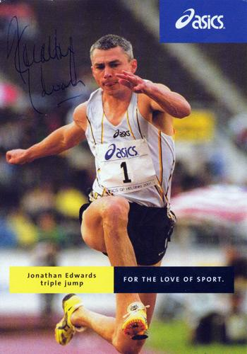 JONATHAN EDWARDS autograph (World & Olympic Triple Jump champion) Hand-signed Asics promo card