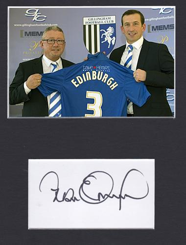 Justin-Edinburgh-autograph-signed-Gillingham-FC-football-memorabilia-owner-Paul-Scally-manager-coach-the-gills-signature-Priestfield-Stadium