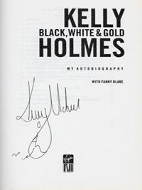 Kelly-Holmes-autograph-signed-athletics-memorabilia-autobiography-black-white-and-gold-800-1500-metres-olympic-champion-gold-200