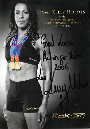 Kelly-Holmes-signed-athletics-olympics-memorabilia-autograph-800-1500-metres-champion-double-gold--reebok-action-for-youth
