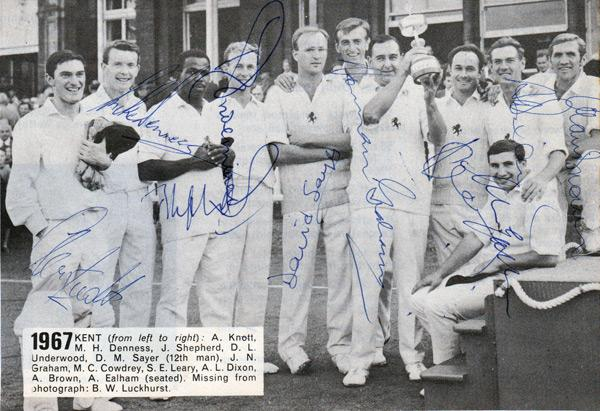 Kent-CCC-autograph-signed-cricket-memorabilia-1967-team-photo-Denness-Knott-Shepherd-Underwood-Ealham-Norman-Graham-county-Friends-Provident-champions