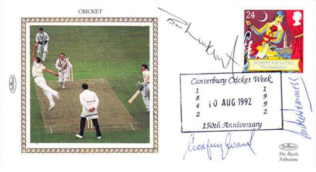 Kent-CCC-cricket-memorabilia-Brian-Luckhurst-autograph-Godfrey-Evans-autograph-Mike-Denness-autograph-Canterbury-Cricket-week-signed-First-day-cover-FDC-autographed