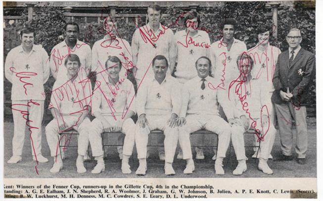 Kent-CCC-signed-cricket-memorabilia-team-photo-Luckhurst-Woolmer-Shepherd-Cowdrey-Knott-Underwood-Ealham-Denness-Julien-Nicholls-autograph