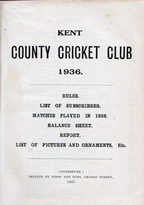 Kent-Cricket-memorabilia-1936-yearbook-club-handbook-kccc-members-history-statistics-results-rules-kccc-county-records