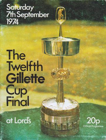 Kent-cricket-memorabilia-1974-Gillette-Cup-Final-programme-Lords-Mike-Denness-Asif-Iqbal-Ealham-Johnson-Alan-Knott-Shepherd-Underwood-Lancashire-CCC-KCCC