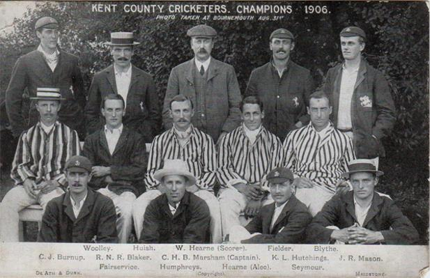 Kent-cricket-memorabilia-KCCC-1906-County-cricket-champions-postcard-Frank-Woolley-Colin-Blythe-CHB-Marsham