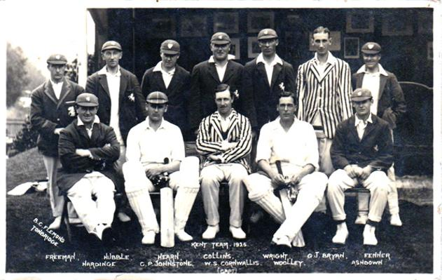 Kent-cricket-memorabilia-KCCC-1925-County-cricket-postcard-Frank-Woolley-Tich-Freeman-Hubble-Wright-Cornwallis-Hardinge