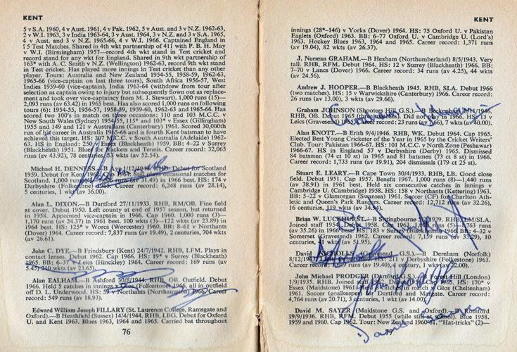 Kent-cricket-memorabilia-KCCC-autographs-signed-Playfair-Cricket-Annual-1968-1969-Mike-Denness-Brian-Luckhurst-Alan-Ealham-Nicholls-Brown