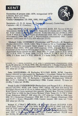 Kent-cricket-memorabilia-KCCC-autographs-signed-Playfair-Cricket-Annual-1968-1969-Mike-Denness-Brian-Luckhurst-Alan-Ealham-Nicholls-Graham-Johnson
