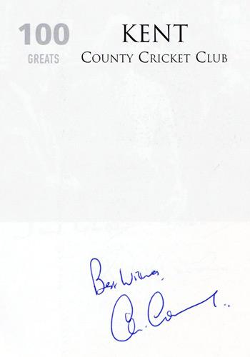 Kent cricket memorabilia KCCC history 100 Greats one hundred greats kent county cricket club signed lord colin cowdrey autograph signature robertson milton carlaw tempus