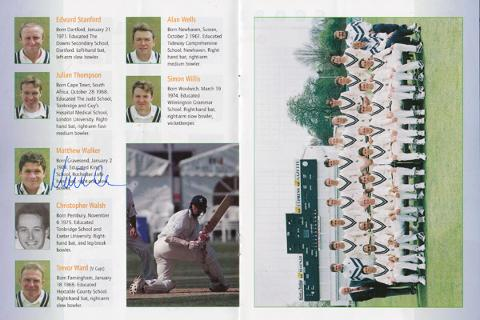 Kent-cricket-memorabilia-KCCC-memorabilia-signed-South-Africa-cricket-memorabilia-1998-tour-programme-england-test-autograph-St-Lawrence-ground-Proteas-Matt-Walker
