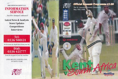Kent-cricket-memorabilia-KCCC-memorabilia-signed-South-Africa-cricket-memorabilia-1998-tour-programme-england-test-autograph-St-Lawrence-ground-Proteas