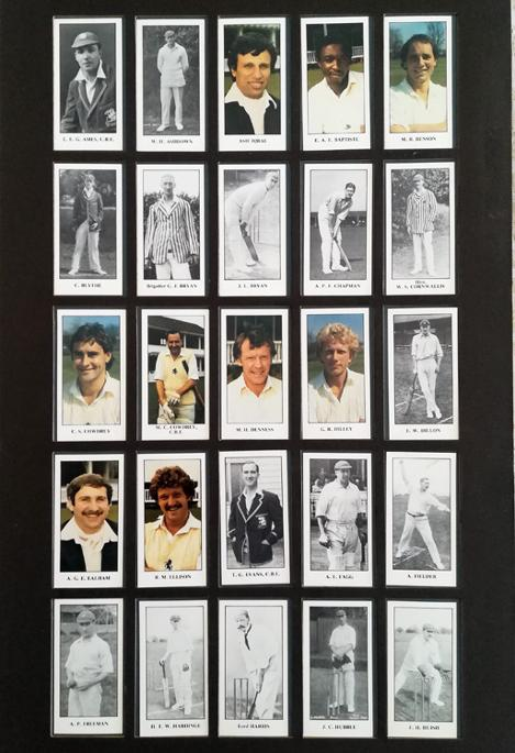 Kent-cricket-memorabilia-KCCC-set-of-50-player-cigarette-cards-ec-edward-wharton-Tigar-cowdrey-ames-woolley-knott-underwood-evans-freeman-harris-framed