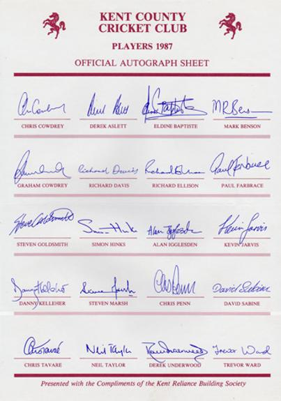 Kent-cricket-memorabilia-Kent-cricket-autographs-signed-KCCC-memorabilia-1987-team-sheet-Official-Autograph-Sheet-Kent-Reliance-Building-Society-Cowdrey-Tavare-Underwood