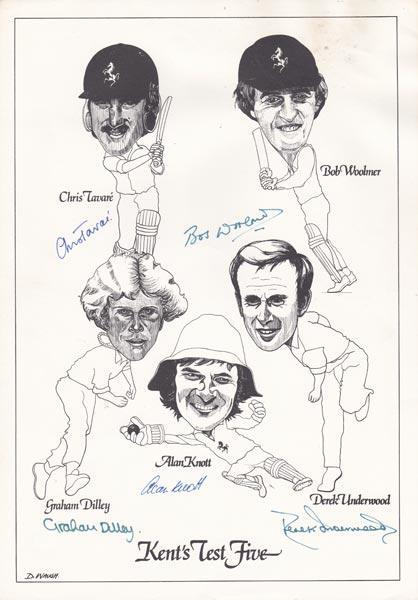 Kent-cricket-memorabilia-alan-knott-autograph-derek-underwood-signed-kents-test-five-dilley-woolmer-tavare-d-waugh-caricature-cartoon-kccc