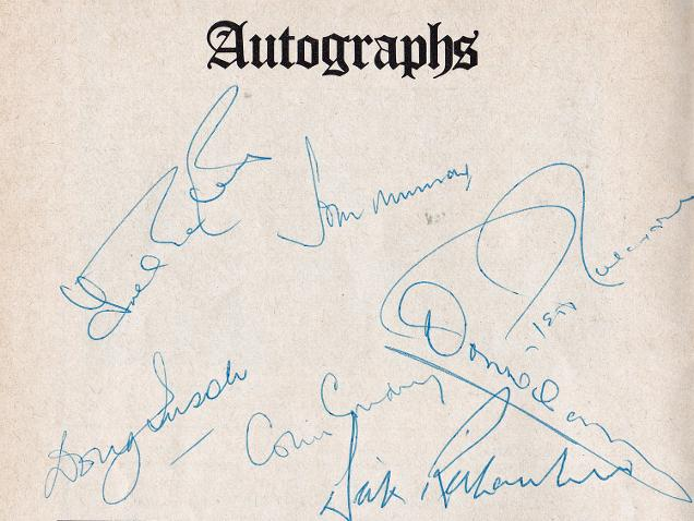 Kent-cricket-memorabilia-colin-cowdrey-autograph-trevor bailey signed-Peter-Richardson-dick-don wilson-doug insole-john-murray