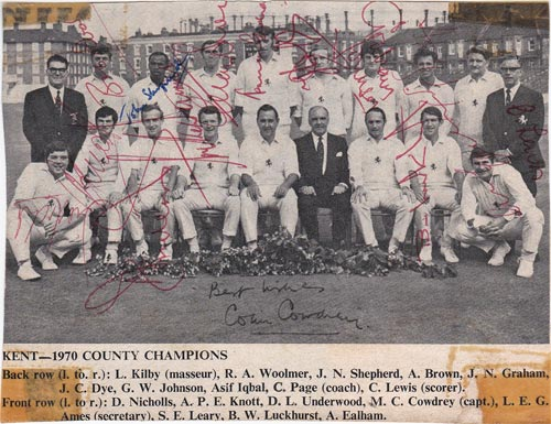 Kent-cricket-memorabilia-colin-cowdrey-signed-1970 county champions-team-photo-luckhurst-Woolmer-norman-Graham-johnson-ealham-asif-iqbal-underwood-knott-denness-autograph-kccc