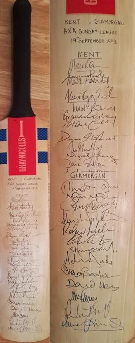 Kent-cricket-memorabilia-glamorgan-signed-1993-gray-nicolls-sunday-league-match-canterbury-iva-viv-richards-last-game-kccc