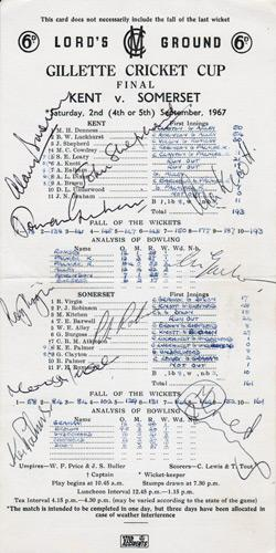 Kent-cricket-memorabilia-signed-1967-Gillette-Cup-Final-scorecard-Lords-KCCC-John-Shepherd-Alan Knott-Brown-Norman-Graham-champions-winners