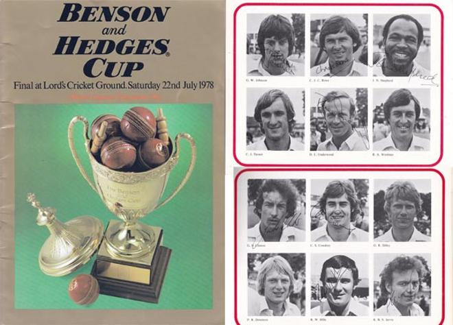 Kent-cricket-memorabilia-signed-1978-Benson-and-hedges-cup-final-programme-derbys-ccc-lords-champions-winners-team-autographs-kccc