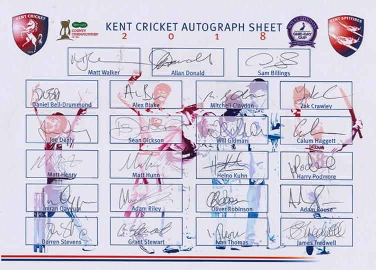 Kent-cricket-memorabilia-signed-2018-squad-players-team-sheet-sam-billings-adam-milne-matt-henry-joe-denly-matt-walker-allan-donald-heino-kuhn-kccc-spitfires-signature