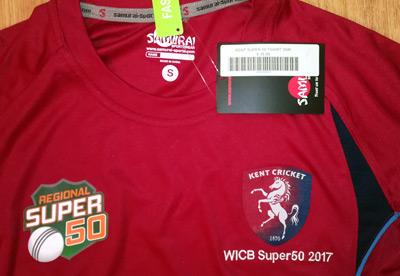 Kent-cricket-memorabilia-signed-shirt-one-day-2017-WCIB-regional-super-50-overs-competition-west-indies-visit-canterbury-antiqua-autographs-spitfires-kccc-new-tags