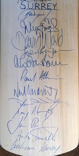 Kent-cricket-memorabilia-squad-signed-bat-surrey-ccc-2000--john-major-autograph-joey-benjamin-kersey-david-ward-ally-brown-ian-bishop-tim-murtagh-smith-oval