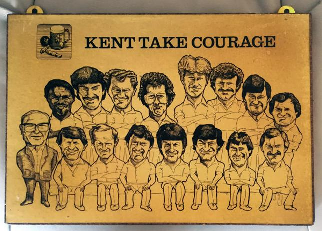 Kent-cricket-memorabilia-take-courage-beer-brewery-pub-sign-squad-team-kccc-1980s-breweriana-alan-knott-derek-underwood-luckhurst-dilley-benson-cowdrey-aslett