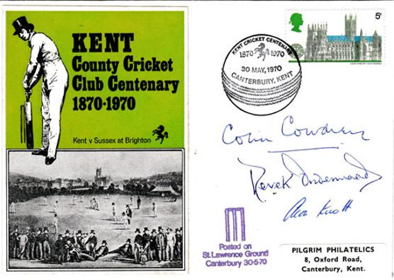 Kent-cricket-signed-1870-1970-centenary-first-day-cover-colin-cowdrey-autograph-alan-knott-derek-underwood-kccc-canterbury-fdc