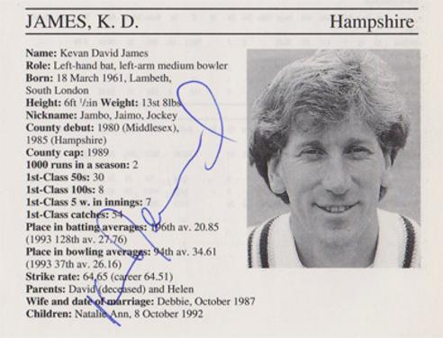 Kevan-James-autograph-signed-hampshire-cricket-memorabilia-hants-ccc-signature