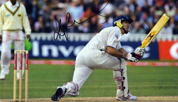 KEVIN PIETERSEN (England) Signed magazine picture of the controversial batsman in action - batting for England and reverse sweeping Muttiah Muralitharan  for a memorable six.
