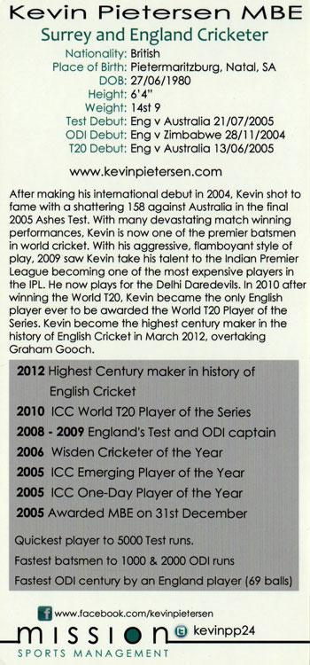 Kevin-Pietersen-signed-autographed England and Surrey cricket Adidas-promo-card memorabilia biography back 750