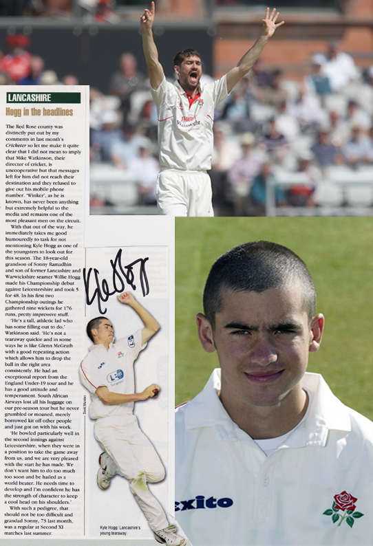 Kyle Hogg signed Lancashire CCC Cricket memorabilia retirement Lightning Lashings debut autograph Lancs