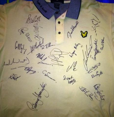 Golf shirt signed by Montgomery Olazabal Harrington