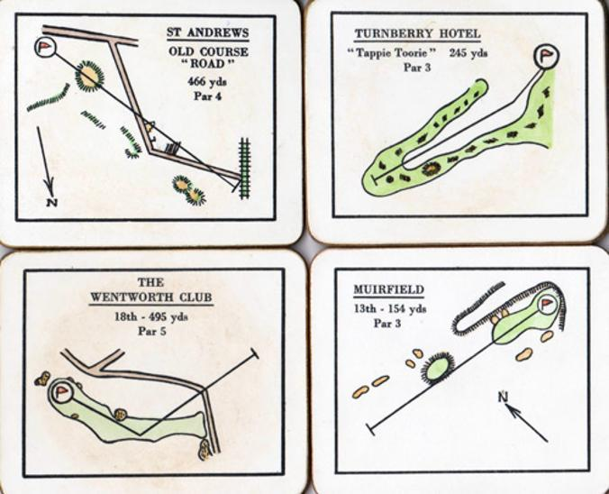 Lady-Clare-golf-course-coasters-melamine-st-andrews-old curse muirfield-wentworth-turnberry-hotel place mats-gift-box