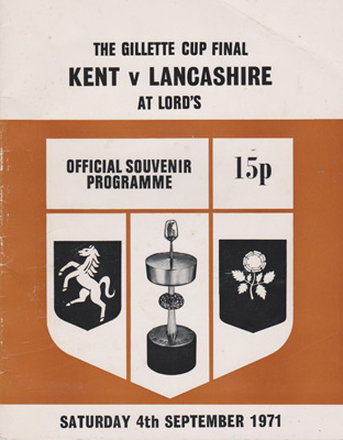 Lancashire-cricket-memorabilia-1971-Gillette-Cup-Final-programme-kent-ccc-lords-sept-cover-red-rose-county-lccc