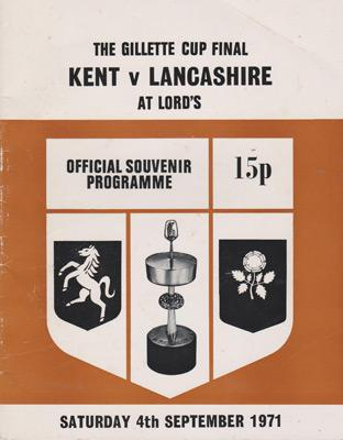 Kent-cricket-memorabilia-1971-Gillette-Cup-Final-programme-lancashire-ccc-lords-sept-cowdrey-knott-underwood-denness-asif-iqbal-woolmer-kccc
