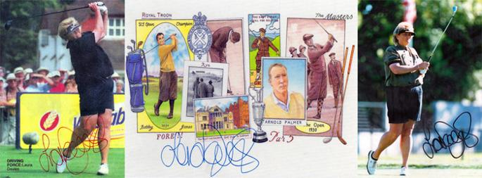 Dame Laura Davies signed historical golf birthday card Arnold Palmer Bobby Jones St Andrews memorabilia