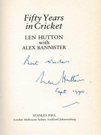 Len-Hutton-autograph-signed-england-cricket-memorabilia-book-fifty-years-in-cricket-yorkshire-sir-captain-364-signature