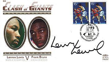 Lennox Lewis heavyweight champ signed Frank Bruno FDC