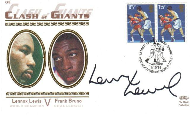 Lennox-Lewis-memorabilia Signed world boxing memorabilia FDC v Frank Bruno memorabilia 1993 Clash of Giants