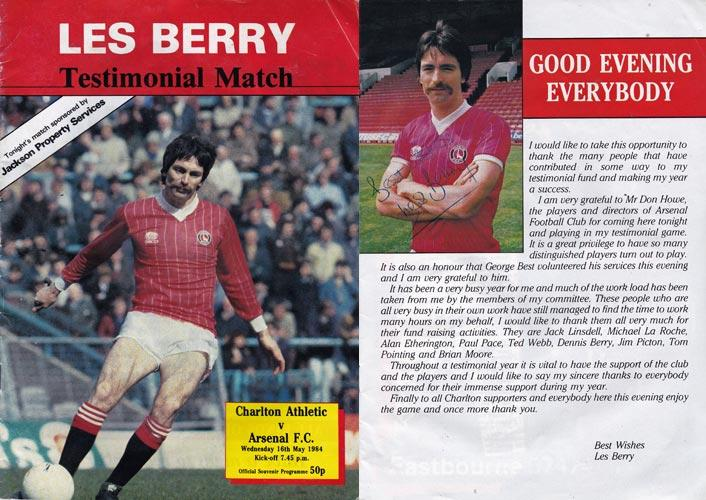 Les-Berry-autograph-signed-charlton-athletic-football-memorabilia-testimonial-match-may-1984-arsenal-george-best-the-valley-cafc