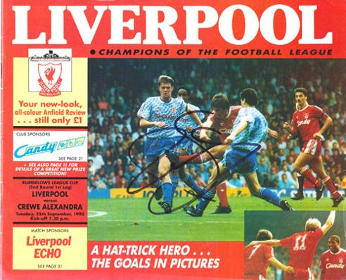 Liverpool-football-memorabilia-1990-rumbelows-cup-programme-crewe-alexandra-signed-anfield-review-autograph-peter-beardsley-cover-photo-lfc