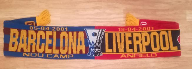 Liverpool-football-memorabilia-April-2001-UEFA-Champions-League-semi-final-Barcelona-home-away-1-0-Gary-McAllister-penalty-LFC-Anfield-Nou-Camp-soccer-scarf